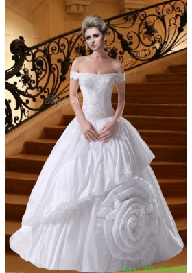 Princess Beading Court Train 2016 Wedding Dresses with Off The Shoulder