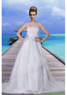 Princess Beading Strapless Brush Train Wedding Dress with Zipper Up