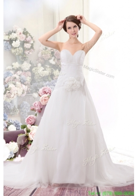 Princess Brush Train Sweetheart Wedding Dress with Handle Made Flower