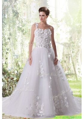 Princess One Shoulder Appliques Wedding Dress with Court Train for Spring