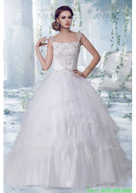 Puffy Court Train Square Embroidery 2016 Spring Wedding Dress with Cap Sleeves
