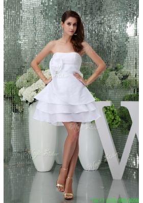 Ruffle Layers Mini Length White Wedding Dress with Handmade Flower for Summer