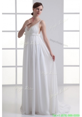Sexy Empire V Neck Wedding Dress with Beading Brush Train for Fall