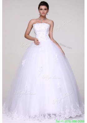 Strapless Ball Gown Lace Appliques Floor Length Wedding Dress