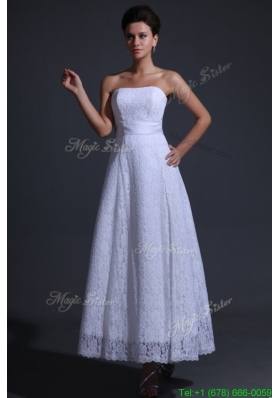 Strapless Empire Ankle Length Lace Wedding Dress with Bowknot
