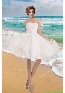 Sunner Sweet Strapless Princess Appliques Beach Wedding Dress with Lace
