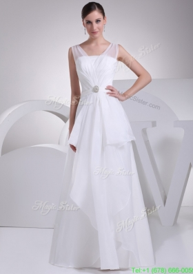 2013 Simple V Neck Beading and Ruching Chiffon Bridal Dress