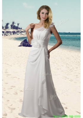 2015 Fall One Shoulder Hand Made Flowers Beach Wedding Dresses