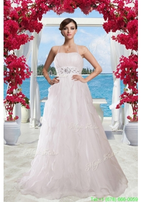 2015 Fall  Princess Halter Brush Train Wedding Dress with Rhinestones
