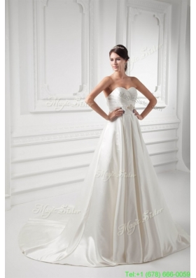 A line Sweetheart Appliques and Ruching Satin Satin Wedding Dress