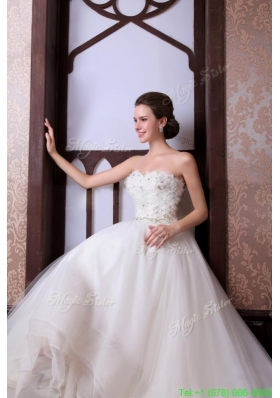 A Line Sweetheart Floor length Beading Tulle Wedding Dress