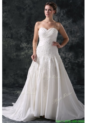 A Line Sweetheart Taffeta Appliques Court Train Lace Up Wedding Dress