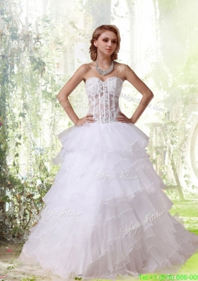 Beautiful Sweetheart Chapel Train Princess Wedding Dresses with Appliques for Winter