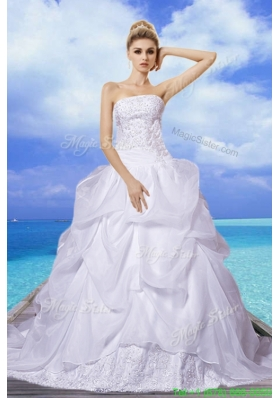 Brand New 2015 Fall A Line Strapless Appliques Wedding Dresses with Court Train