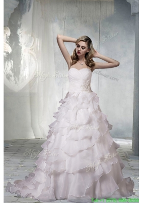 Classical Sweetheart Court Train A Line Wedding Dresses with Appliques