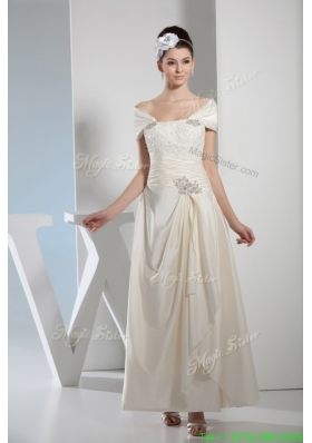 Column Off The Shoulder Beading and Ruching Wedding Dress for Summer