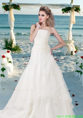 Custom Made Appliques Wedding Dress with Sweetheart