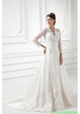 Elegant A line V neck Long Sleeves Satin Chapel Train Wedding Dress