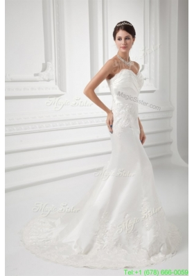 Elegant Column Sweetheart Appliques Court Train Satin Wedding Dress