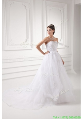 Fall A line Strapless Appliques Pick ups Organza Chapel Train Wedding Dress