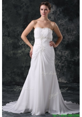 Fall Elegant Column Sweetheart Lace Up Chiffon Wedding Dress with Beading
