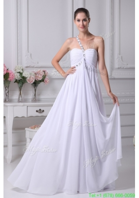 Fall One Shoulder Empire Chiffon Wedding Gowns with Beading 2016
