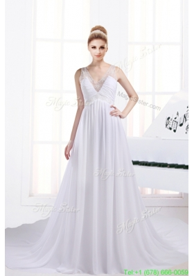 Fashionable A Line V Neck Ruching Wedding Dresses with Chapel Train
