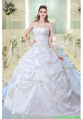 Modest A Line Strapless Court Train Wedding Dress with Embroidery