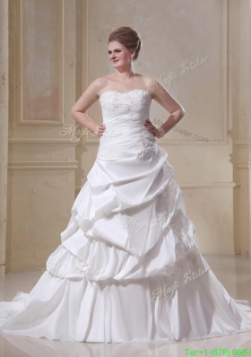 Plus Size A Line Strapless Appliques Wedding Dresses for Spring