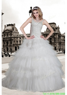 Popular Ball Gown Scoop Brush Train Beading Wedding Dress for Winter