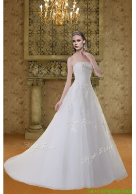 Princess A Line Sweep Train Appliques Wedding Dress with Sweetheart