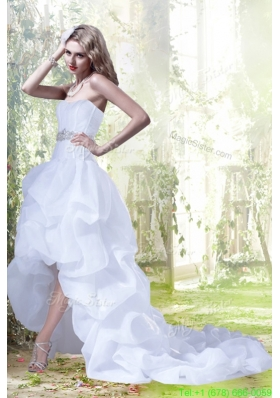 Princess Sweetheart Beading Ruffles Wedding Dresses with High Low