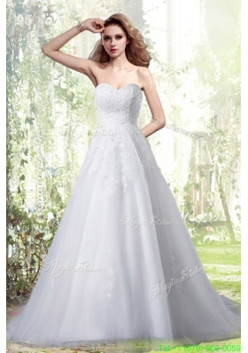 Princess Sweetheart Brush Train Wedding Dress with Appliques