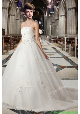 Romantic Princess Strapless Chapel Train Wedding Dress with Beading for Fall