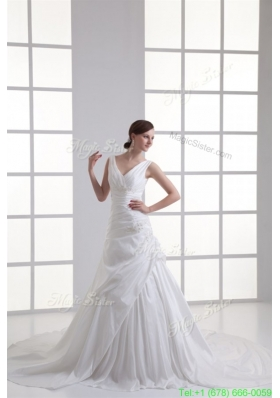 Spring Gorgeous V-neck A-line Cathedral Train Wedding Dress with Appliques and Beading