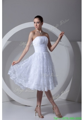 Summer A Line Strapless Tea length Lace and Ruching Wedding Dress