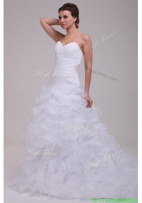Summer Sweetheart A-line Appliques and Ruffles Court Train Wedding Dress
