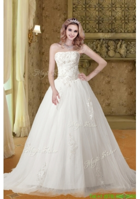 Winter A Line Strapless Appliques Wedding Dresses with Chapel Train