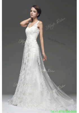 Winter Column V-Neck Appliques Zipper Up Wedding Dress with Court Train