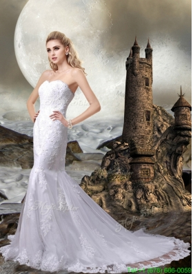 2016 Lace Mermaid Sweetheart Wedding Dress with Lace Up