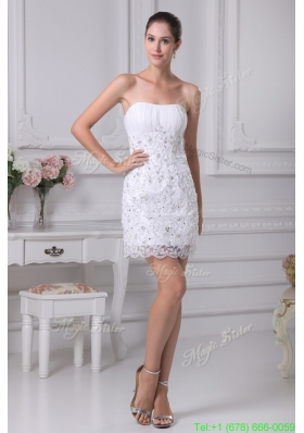 2016 Spring Lovely Strapless Lace Short Ruching Wedding Dress