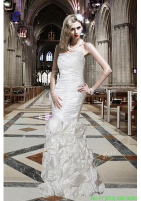 Beautiful Mermaid Strapless Wedding Dresses with Hand Made Flowers