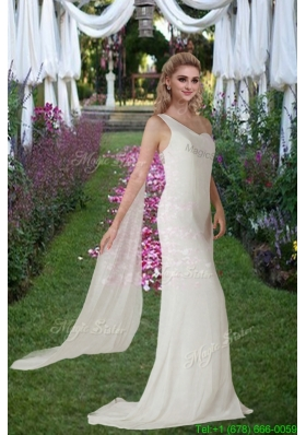 Column One Shoulder Beading Bridal Dresses with Watteau Train
