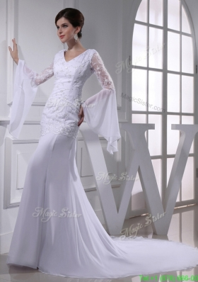 Elegant Column V neck Lace Chiffon Wedding Dress With Long Sleeves