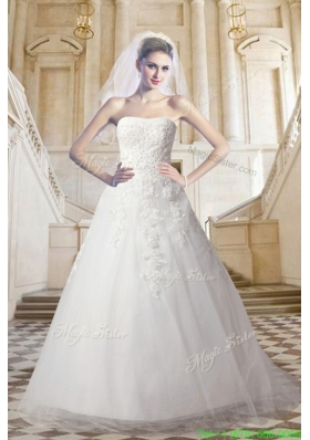 Elegant Lace Strapless A Line Court Train Wedding Dress with Appliques
