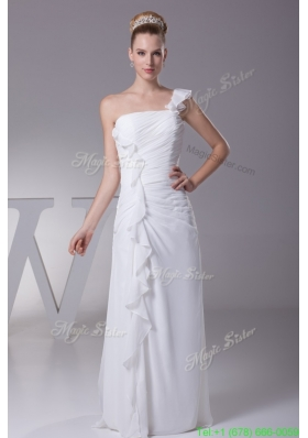 Elegant Sheath One Shoulder Ruching Floor-length Wedding Gowns For 2016