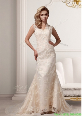 Fall Champagne Lace V neck Court Train Clasp Handle Wedding Dresses