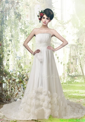 Romantic A Line Strapless Court Train Wedding Dresses with Hand Made Flowers