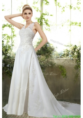 Romantic Column Halter Appliques Wedding Dress  for 2016