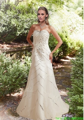 Sequins Column Beach Appliques Wedding Dress with Court Train